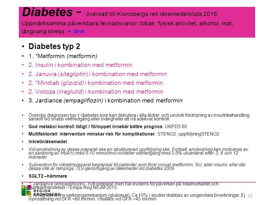 Diabetes - översatt till Kronobergs rek läkemedelslista 2016: Uppmärksamma påverkbara levnadsvanor: tobak, fysisk aktivitet, alkohol, mat, långvarig stress.