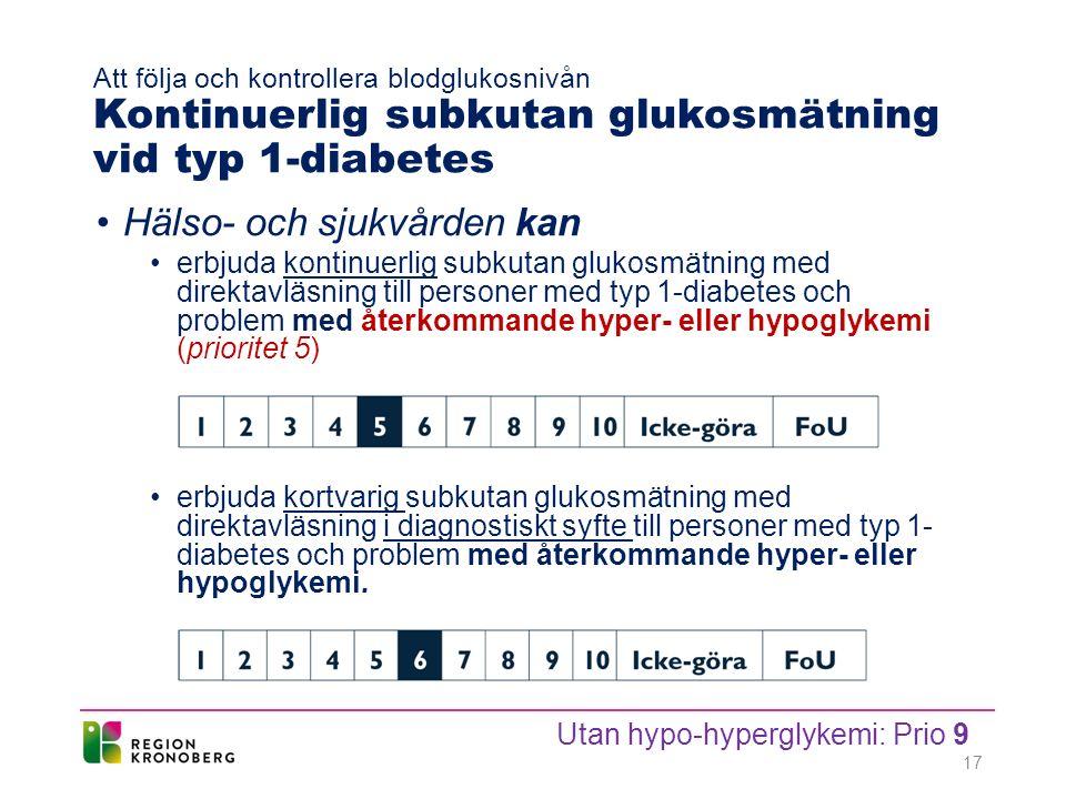 Att följa och kontrollera blodglukosnivån Kontinuerlig subkutan glukosmätning vid typ 1-diabetes Hälso- och sjukvården kan erbjuda kontinuerlig subkutan glukosmätning med direktavläsning till personer med typ 1-diabetes och problem med återkommande hyper- eller hypoglykemi (prioritet 5) erbjuda kortvarig subkutan glukosmätning med direktavläsning i diagnostiskt syfte till personer med typ 1- diabetes och problem med återkommande hyper- eller hypoglykemi.