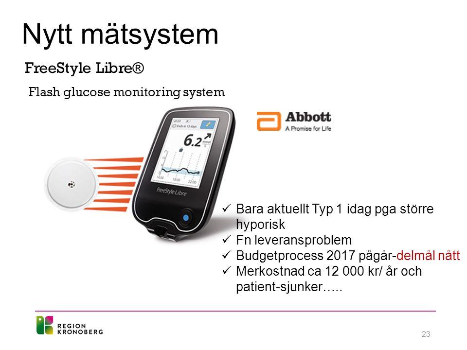 Nytt mätsystem FreeStyle Libre® Flash glucose monitoring system Bara aktuellt Typ 1 idag pga större hyporisk Fn leveransproblem Budgetprocess 2017 pågår-delmål nått Merkostnad ca 12 000 kr/ år och patient-sjunker…..