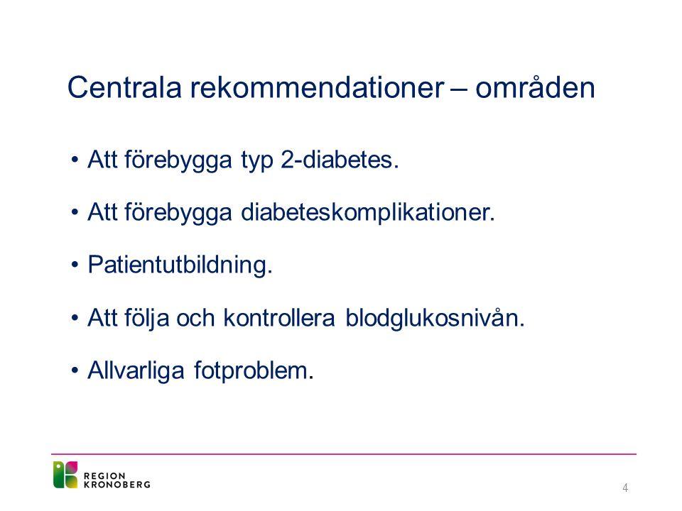 Centrala rekommendationer – områden Att förebygga typ 2-diabetes.