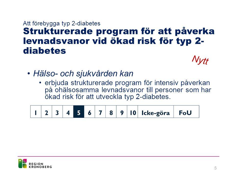 Att förebygga typ 2-diabetes Strukturerade program för att påverka levnadsvanor vid ökad risk för typ 2- diabetes Hälso- och sjukvården kan erbjuda strukturerade program för intensiv påverkan på ohälsosamma levnadsvanor till personer som har ökad risk för att utveckla typ 2-diabetes.