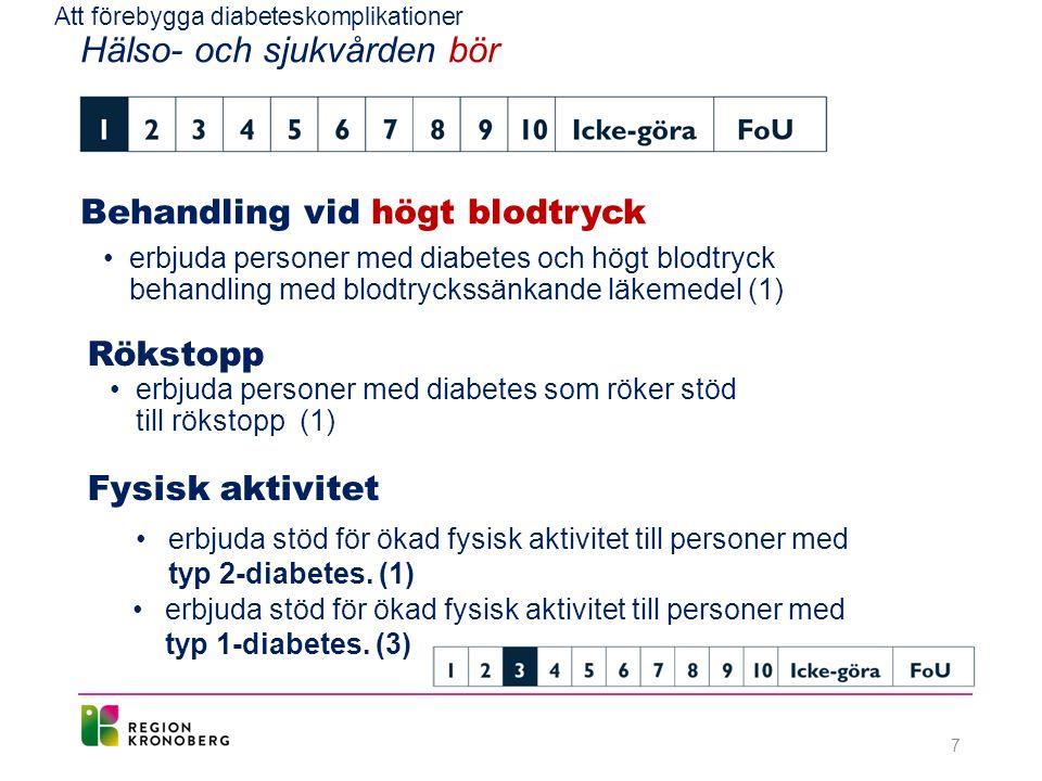 Att förebygga diabeteskomplikationer Hälso- och sjukvården bör Behandling vid högt blodtryck erbjuda personer med diabetes och högt blodtryck behandling med blodtryckssänkande läkemedel (1) Rökstopp erbjuda personer med diabetes som röker stöd till rökstopp (1) Fysisk aktivitet erbjuda stöd för ökad fysisk aktivitet till personer med typ 2-diabetes.