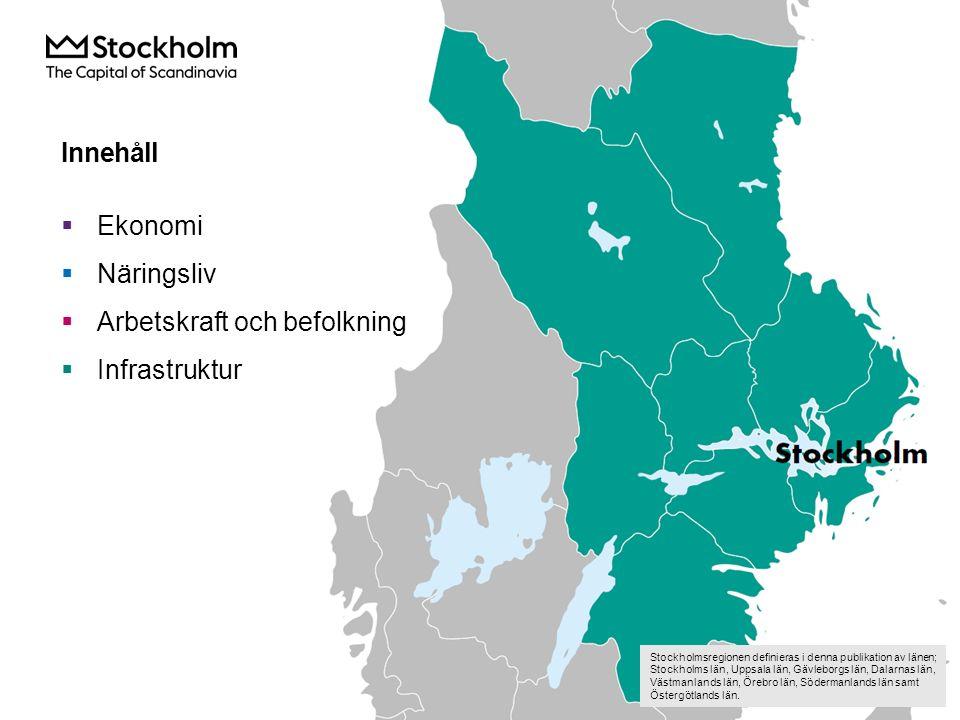 Innehåll  Ekonomi  Näringsliv  Arbetskraft och befolkning  Infrastruktur Stockholmsregionen definieras i denna publikation av länen; Stockholms län, Uppsala län, Gävleborgs län, Dalarnas län, Västmanlands län, Örebro län, Södermanlands län samt Östergötlands län.