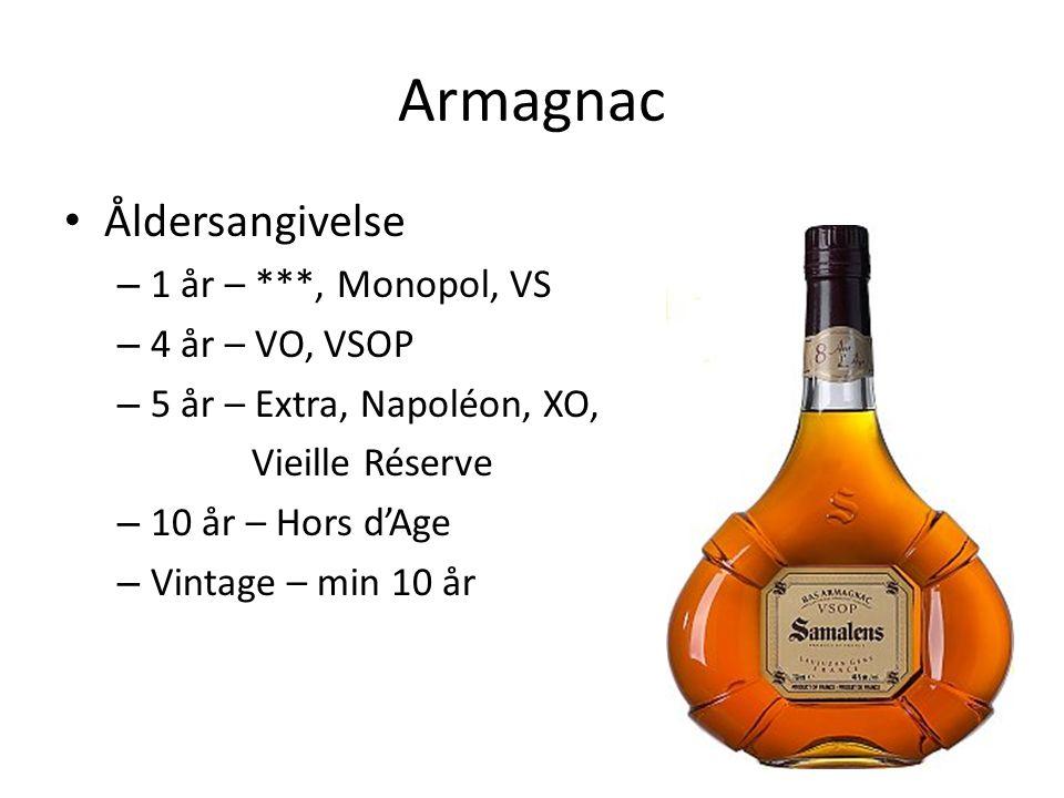 Armagnac Åldersangivelse – 1 år – ***, Monopol, VS – 4 år – VO, VSOP – 5 år – Extra, Napoléon, XO, Vieille Réserve – 10 år – Hors d'Age – Vintage – min 10 år