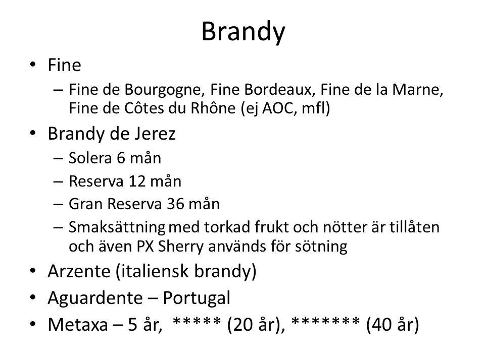 Brandy Fine – Fine de Bourgogne, Fine Bordeaux, Fine de la Marne, Fine de Côtes du Rhône (ej AOC, mfl) Brandy de Jerez – Solera 6 mån – Reserva 12 mån – Gran Reserva 36 mån – Smaksättning med torkad frukt och nötter är tillåten och även PX Sherry används för sötning Arzente (italiensk brandy) Aguardente – Portugal Metaxa – 5 år, ***** (20 år), ******* (40 år)