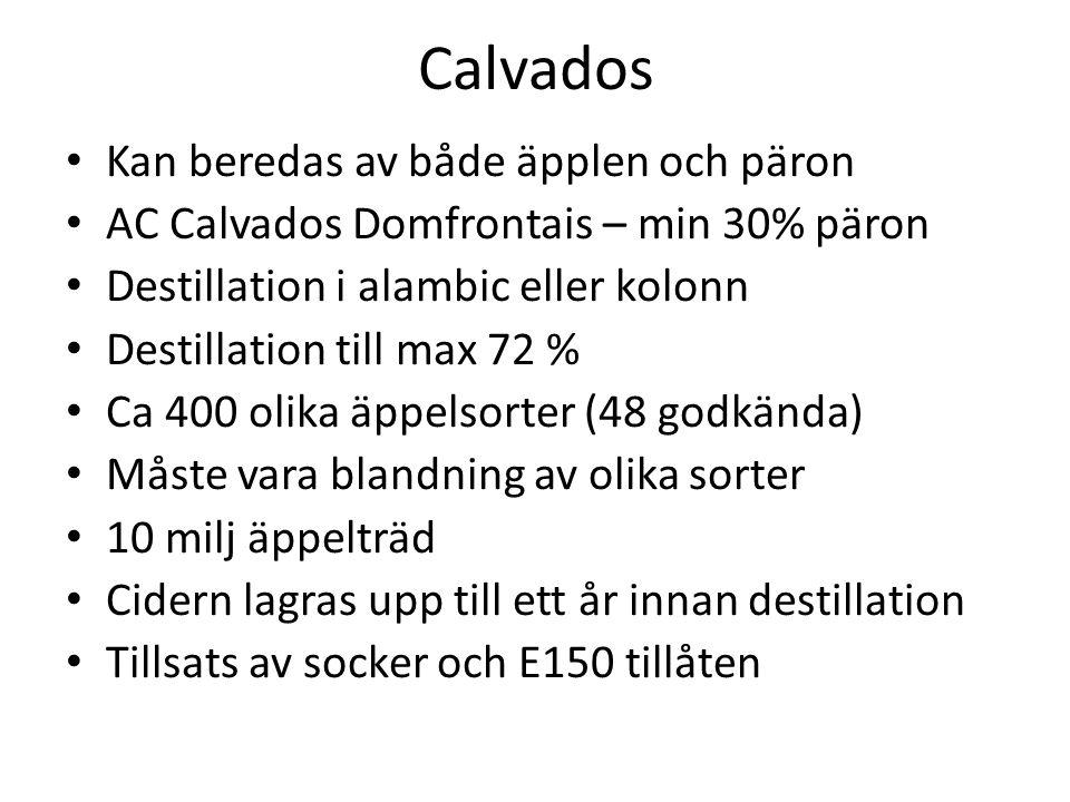 Calvados Kan beredas av både äpplen och päron AC Calvados Domfrontais – min 30% päron Destillation i alambic eller kolonn Destillation till max 72 % Ca 400 olika äppelsorter (48 godkända) Måste vara blandning av olika sorter 10 milj äppelträd Cidern lagras upp till ett år innan destillation Tillsats av socker och E150 tillåten