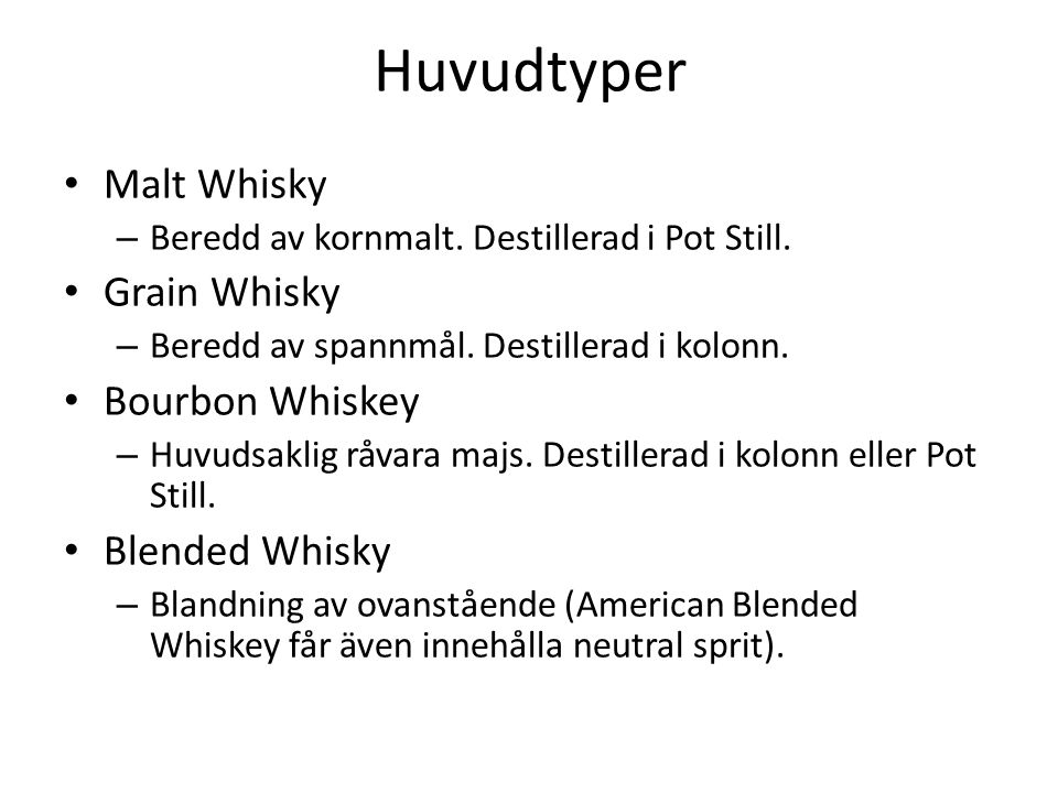 Huvudtyper Malt Whisky – Beredd av kornmalt. Destillerad i Pot Still.