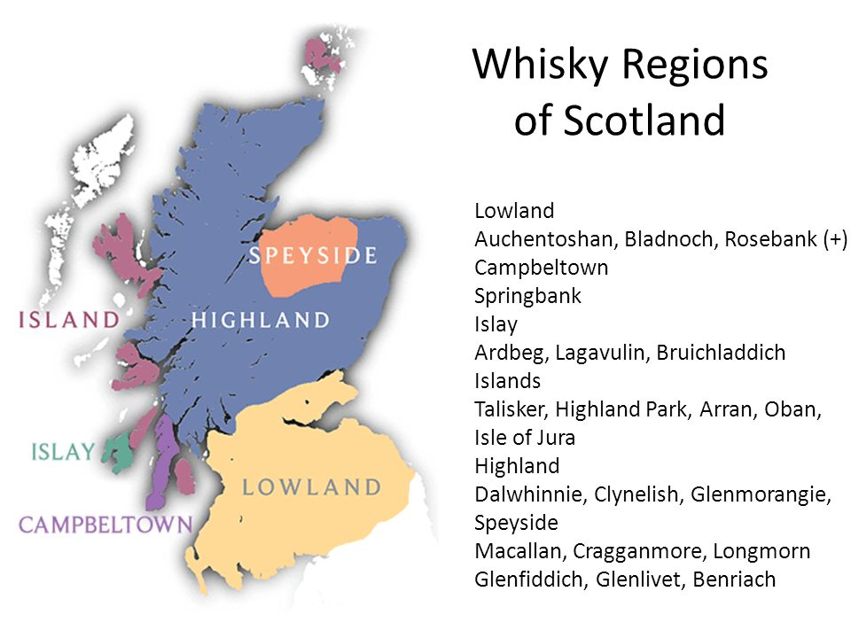 Whisky Regions of Scotland Lowland Auchentoshan, Bladnoch, Rosebank (+) Campbeltown Springbank Islay Ardbeg, Lagavulin, Bruichladdich Islands Talisker, Highland Park, Arran, Oban, Isle of Jura Highland Dalwhinnie, Clynelish, Glenmorangie, Speyside Macallan, Cragganmore, Longmorn Glenfiddich, Glenlivet, Benriach