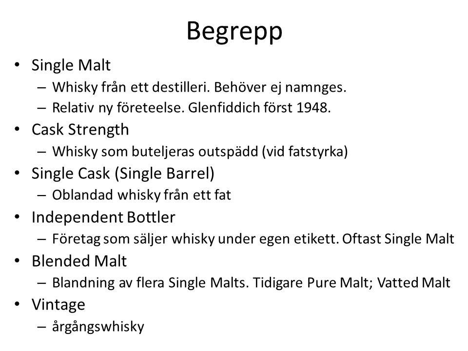 Begrepp Single Malt – Whisky från ett destilleri. Behöver ej namnges.