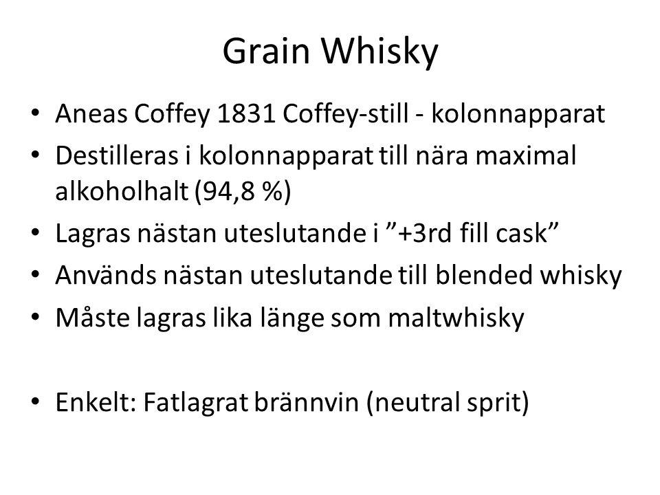 Grain Whisky Aneas Coffey 1831 Coffey-still - kolonnapparat Destilleras i kolonnapparat till nära maximal alkoholhalt (94,8 %) Lagras nästan uteslutande i +3rd fill cask Används nästan uteslutande till blended whisky Måste lagras lika länge som maltwhisky Enkelt: Fatlagrat brännvin (neutral sprit)