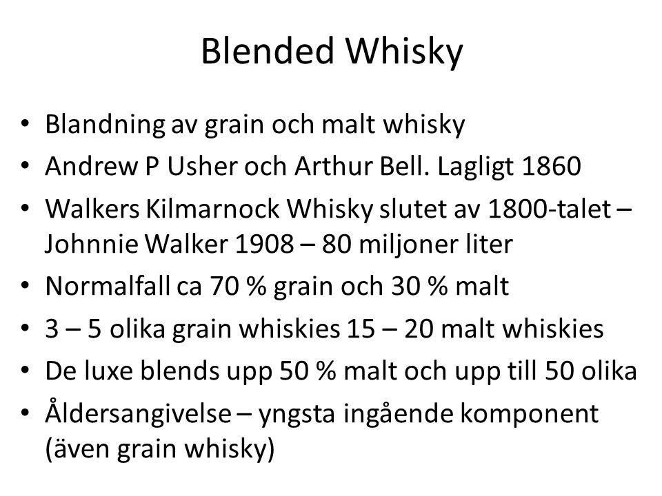 Blended Whisky Blandning av grain och malt whisky Andrew P Usher och Arthur Bell.