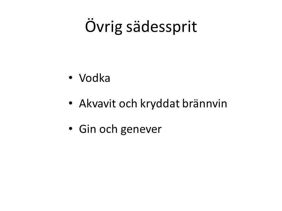 Övrig sädessprit Vodka Akvavit och kryddat brännvin Gin och genever