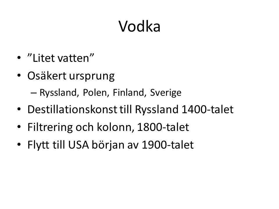 Vodka Litet vatten Osäkert ursprung – Ryssland, Polen, Finland, Sverige Destillationskonst till Ryssland 1400-talet Filtrering och kolonn, 1800-talet Flytt till USA början av 1900-talet