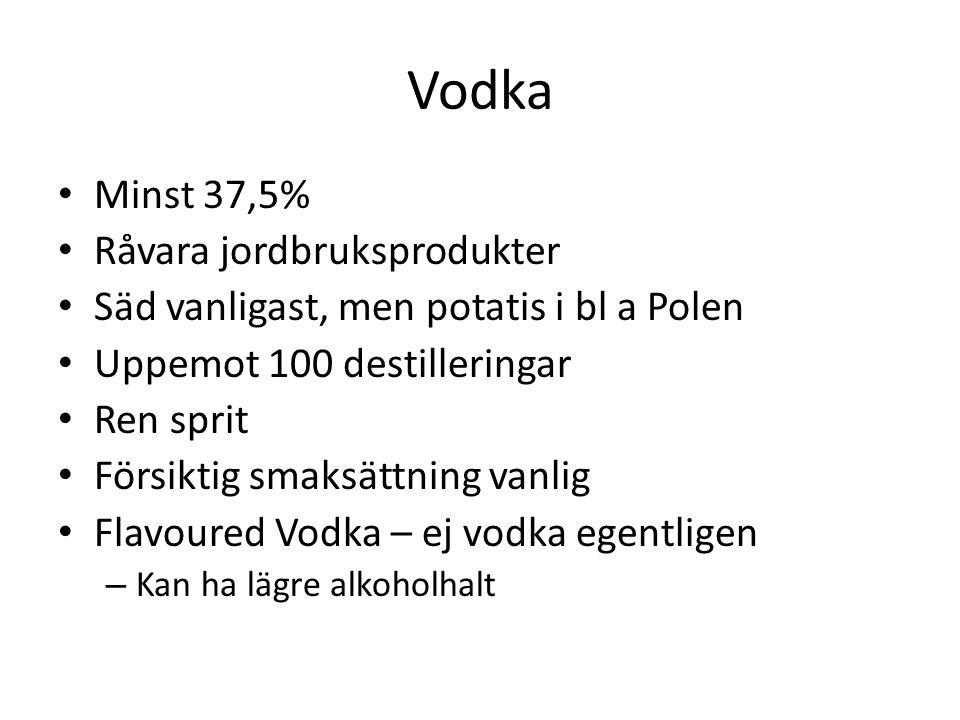 Vodka Minst 37,5% Råvara jordbruksprodukter Säd vanligast, men potatis i bl a Polen Uppemot 100 destilleringar Ren sprit Försiktig smaksättning vanlig Flavoured Vodka – ej vodka egentligen – Kan ha lägre alkoholhalt