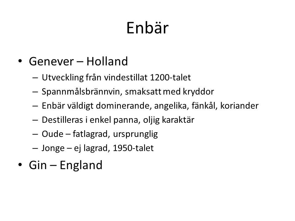 Enbär Genever – Holland – Utveckling från vindestillat 1200-talet – Spannmålsbrännvin, smaksatt med kryddor – Enbär väldigt dominerande, angelika, fänkål, koriander – Destilleras i enkel panna, oljig karaktär – Oude – fatlagrad, ursprunglig – Jonge – ej lagrad, 1950-talet Gin – England