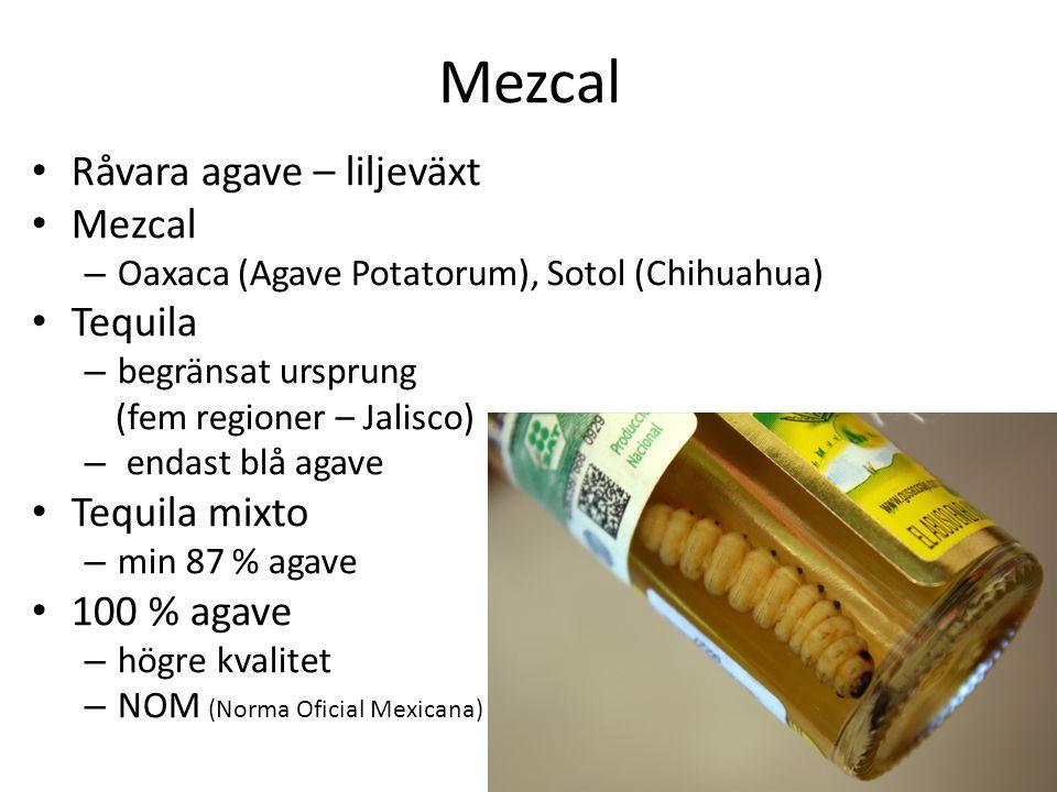 Mezcal Råvara agave – liljeväxt Mezcal – Oaxaca (Agave Potatorum), Sotol (Chihuahua) Tequila – begränsat ursprung (fem regioner – Jalisco) – endast blå agave Tequila mixto – min 87 % agave 100 % agave – högre kvalitet – NOM (Norma Oficial Mexicana)