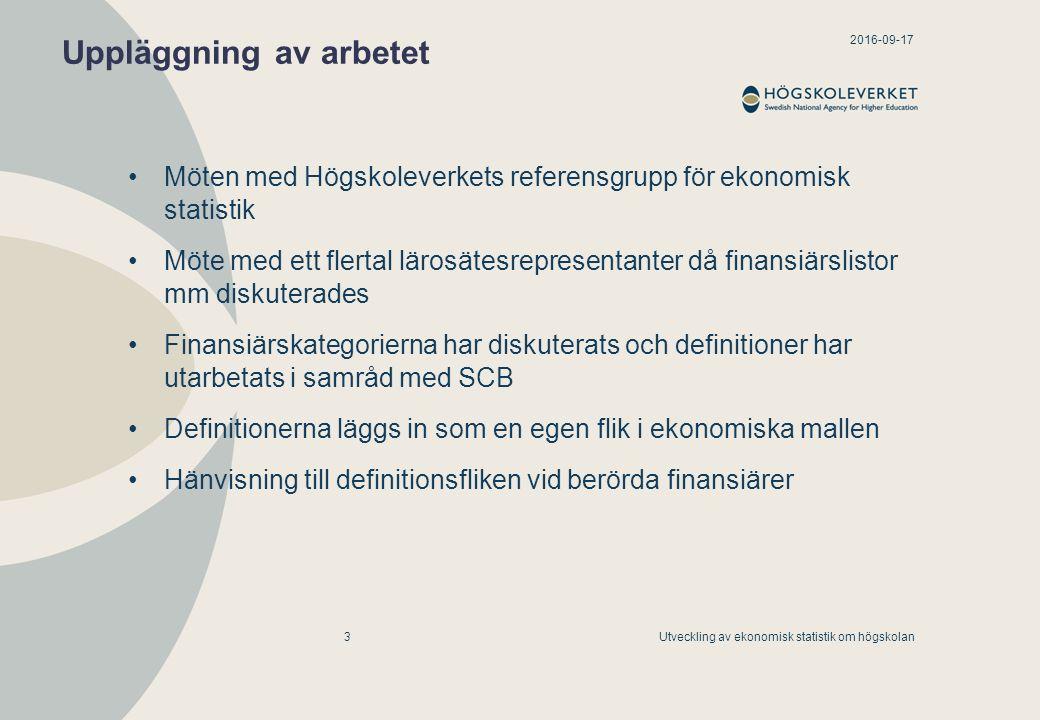2016-09-17 Utveckling av ekonomisk statistik om högskolan4 Redovisning av uppdragsverksamhet inom grundutbildning Internationella utbildningssamarbeten byter namn till Europeiska utbildningssamarbeten avser samarbeten mellan ett svenskt lärosäte och lärosäten inom EU/EES motsvarar Beställd utbildning, men inom EES det svenska lärosätet tar betalt för utbildningen, som inte skall avräknas inom takbeloppet
