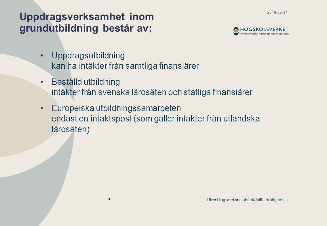 2016-09-17 Utveckling av ekonomisk statistik om högskolan5 Uppdragsverksamhet inom grundutbildning består av: Uppdragsutbildning kan ha intäkter från
