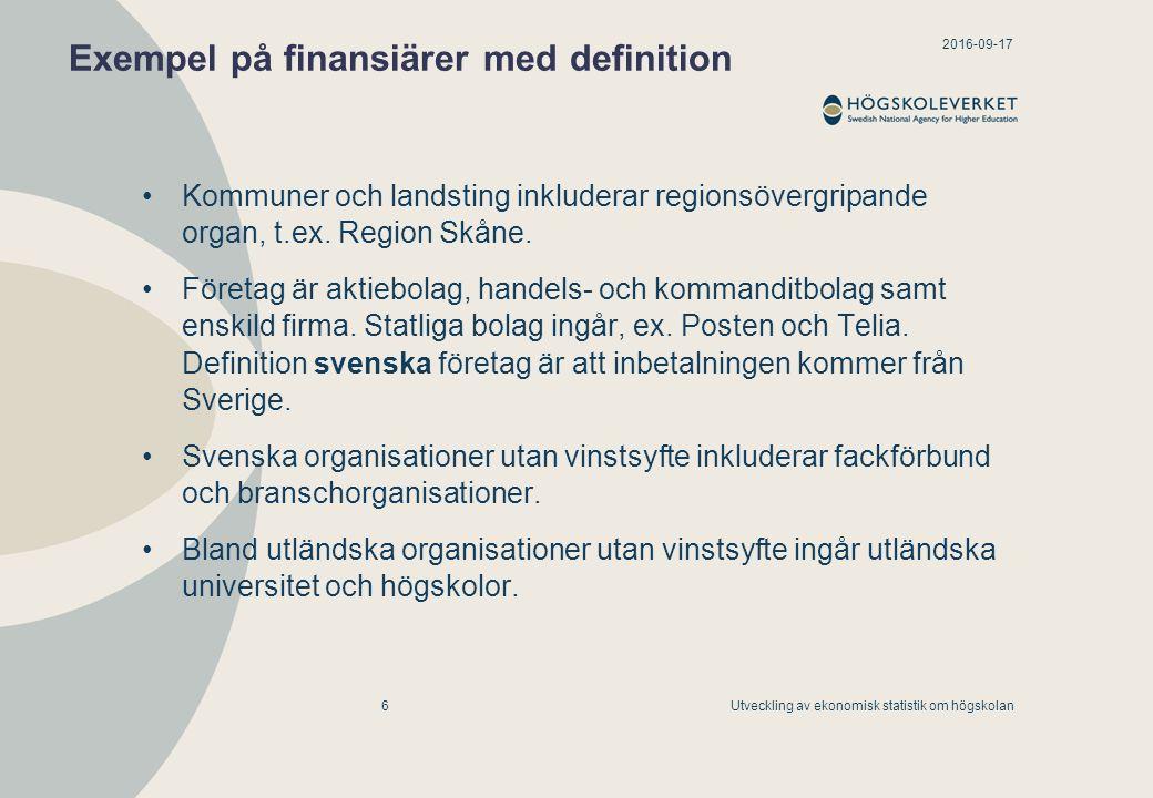 2016-09-17 Utveckling av ekonomisk statistik om högskolan7 Finare redovisning av forskningsbidrag från EU EU-medel erhållna inom European Research Council (ERC) EU-medel erhållna inom ramprogrammen för forskning, exklusive ERC Övriga EU-medel (ej ramprogram för forskning eller ERC) Definition EU-medel: Lärosätet angiven som partner eller underkonsult i det ursprungliga avtalet.