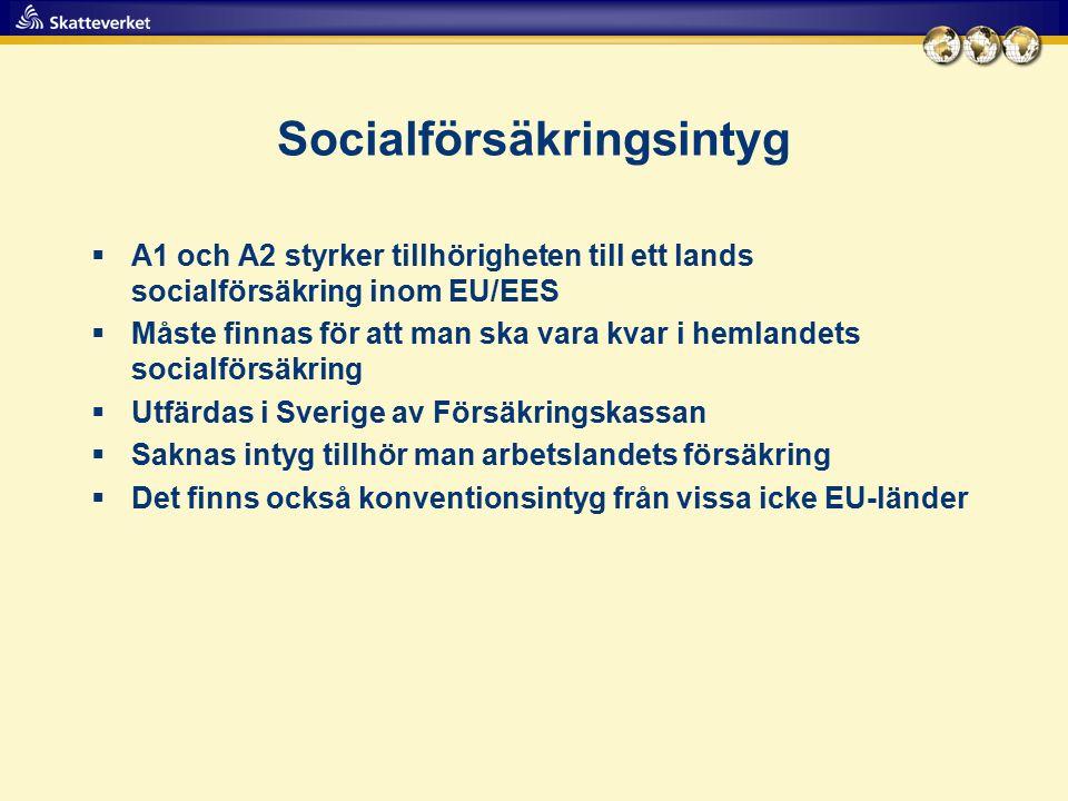 Socialförsäkringsintyg  A1 och A2 styrker tillhörigheten till ett lands socialförsäkring inom EU/EES  Måste finnas för att man ska vara kvar i hemlandets socialförsäkring  Utfärdas i Sverige av Försäkringskassan  Saknas intyg tillhör man arbetslandets försäkring  Det finns också konventionsintyg från vissa icke EU-länder