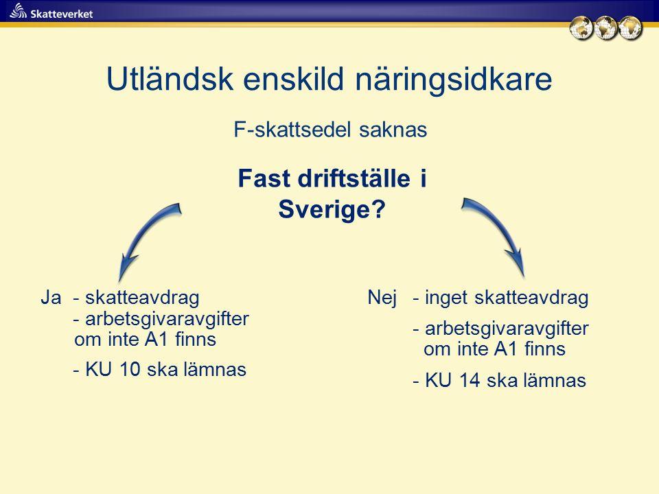 Utländsk enskild näringsidkare F-skattsedel saknas Fast driftställe i Sverige? Ja- skatteavdrag - arbetsgivaravgifter om inte A1 finns - KU 10 ska läm