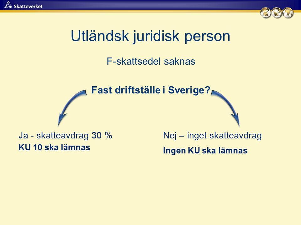 Utländsk juridisk person F-skattsedel saknas Fast driftställe i Sverige? Ja - skatteavdrag 30 %Nej – inget skatteavdrag Ingen KU ska lämnas KU 10 ska