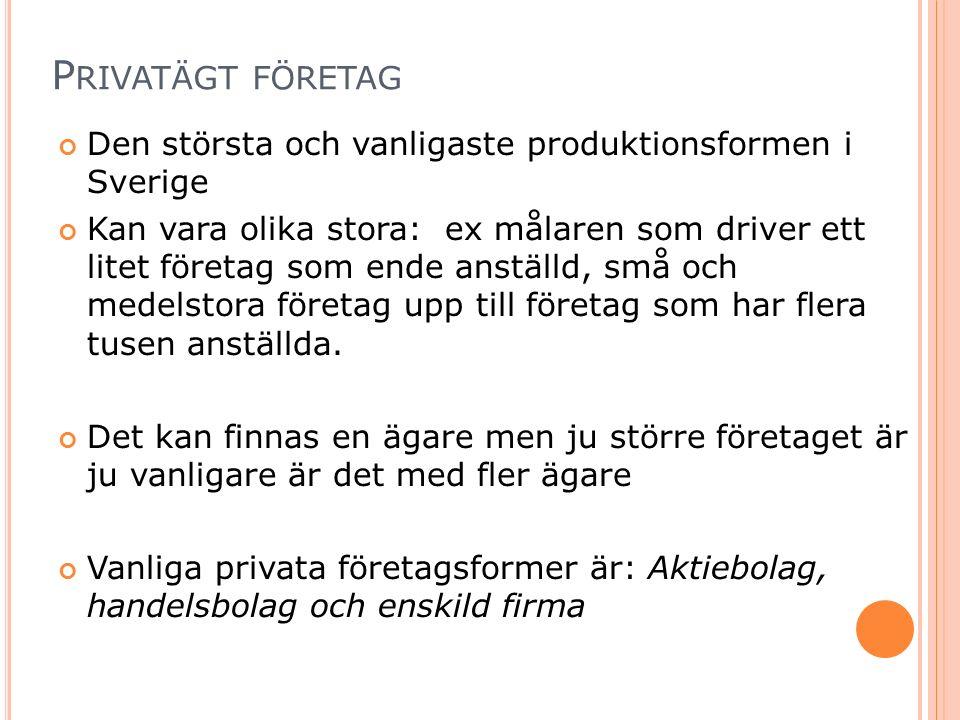 P RIVATÄGT FÖRETAG Den största och vanligaste produktionsformen i Sverige Kan vara olika stora: ex målaren som driver ett litet företag som ende anställd, små och medelstora företag upp till företag som har flera tusen anställda.