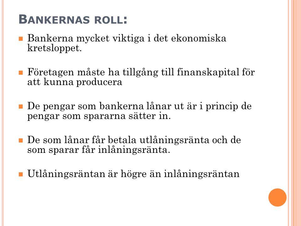 B ANKERNAS ROLL : Bankerna mycket viktiga i det ekonomiska kretsloppet. Företagen måste ha tillgång till finanskapital för att kunna producera De peng