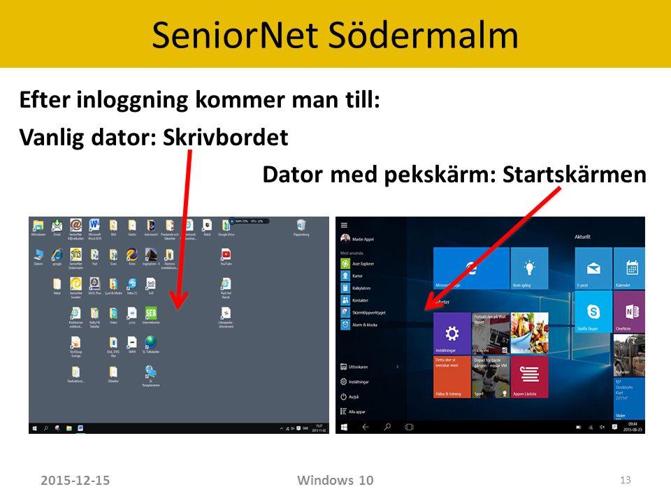 SeniorNet Södermalm Efter inloggning kommer man till: Vanlig dator: Skrivbordet Dator med pekskärm: Startskärmen 2015-12-15Windows 10 13