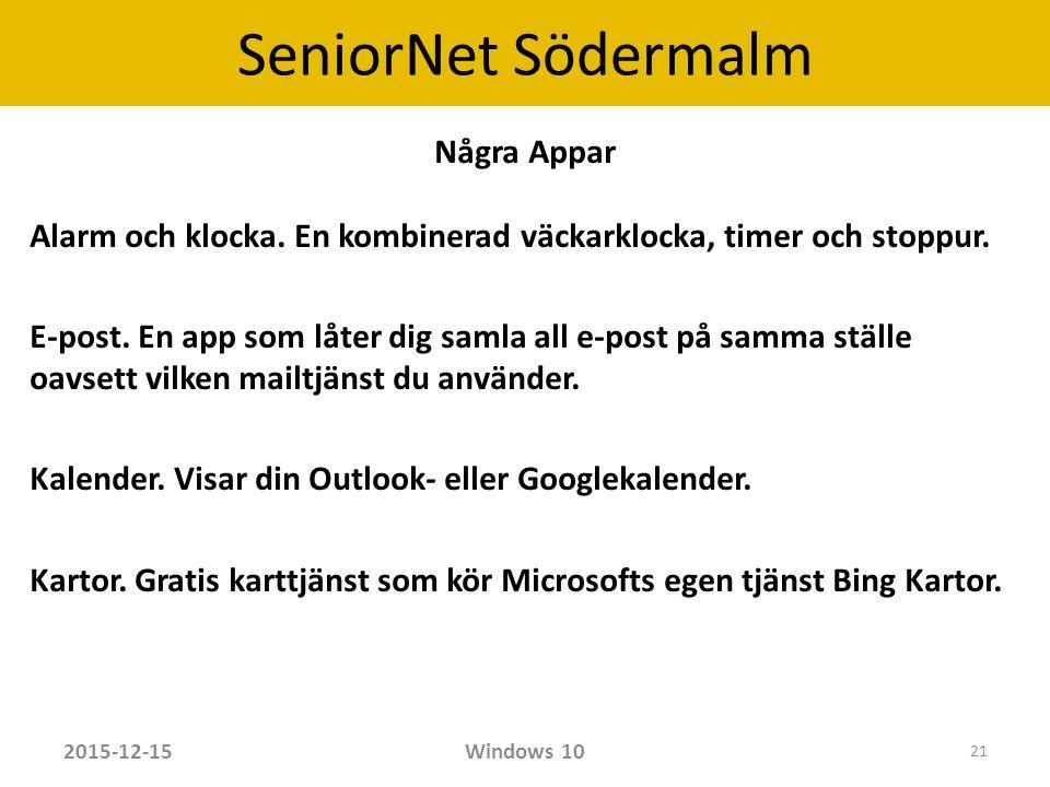SeniorNet Södermalm Några Appar Alarm och klocka. En kombinerad väckarklocka, timer och stoppur.