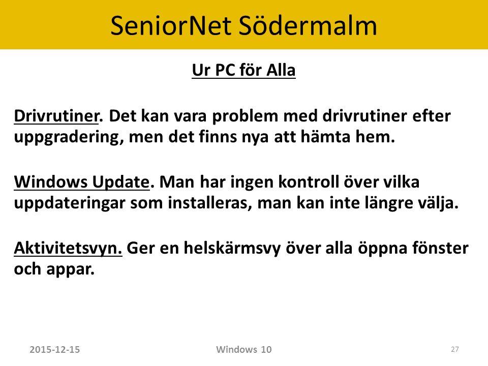 SeniorNet Södermalm Ur PC för Alla Drivrutiner.