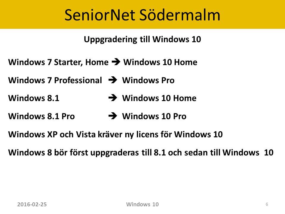 SeniorNet Södermalm Några tips Ställ in startpunkt för Utforskaren Windows 10 har en ny standardvy för Utforskaren, kallad Snabbåtkomst, som ersätter det gamla vanliga Den här datorn.