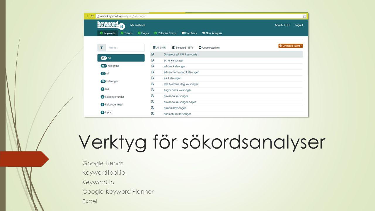 Verktyg för sökordsanalyser Google trends Keywordtool.io Keyword.io Google Keyword Planner Excel