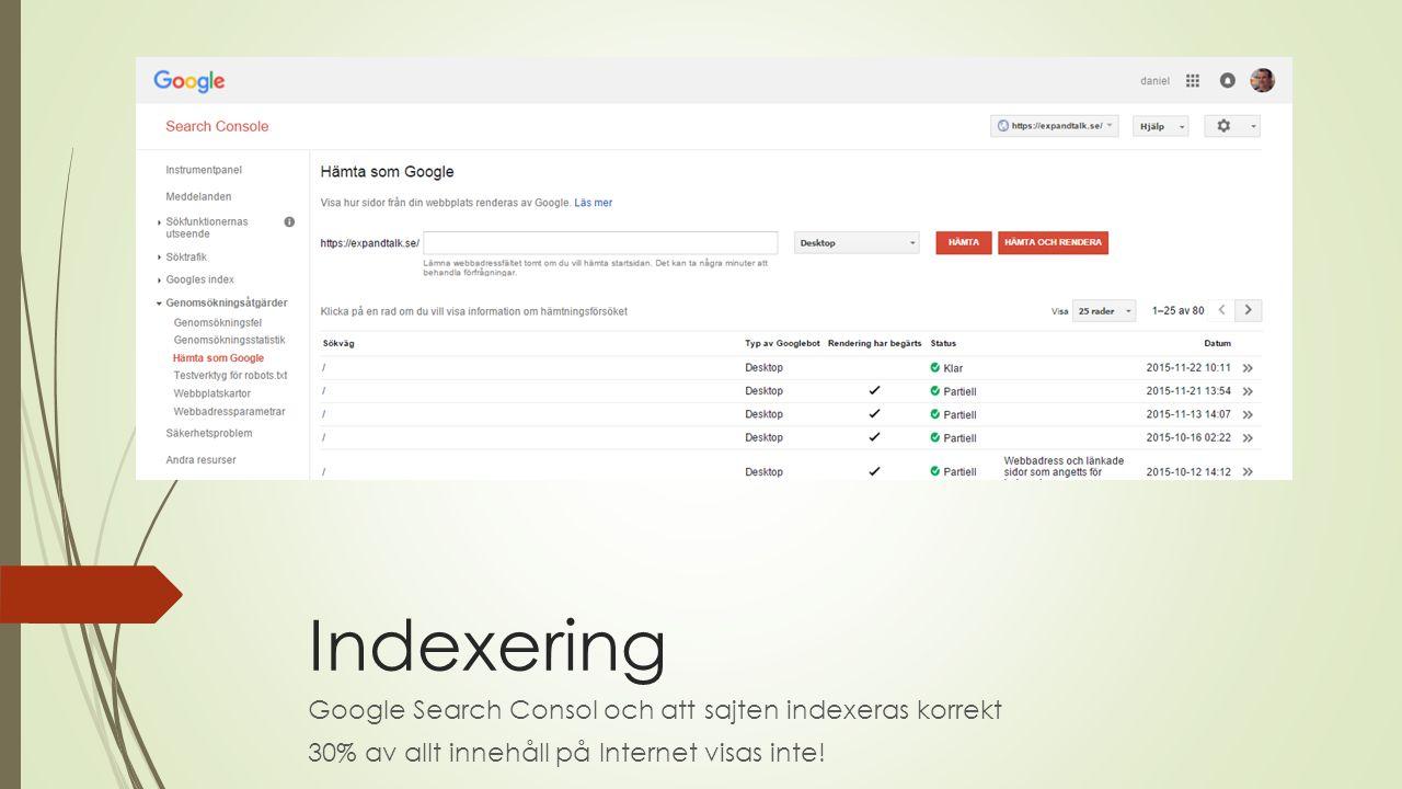 Indexering Google Search Consol och att sajten indexeras korrekt 30% av allt innehåll på Internet visas inte!