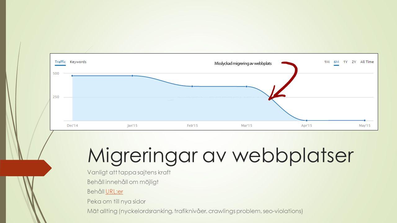Migreringar av webbplatser Vanligt att tappa sajtens kraft Behåll innehåll om möjligt Behåll URL:erURL:er Peka om till nya sidor Mät allting (nyckelordsranking, trafiknivåer, crawlings problem, seo-violations)