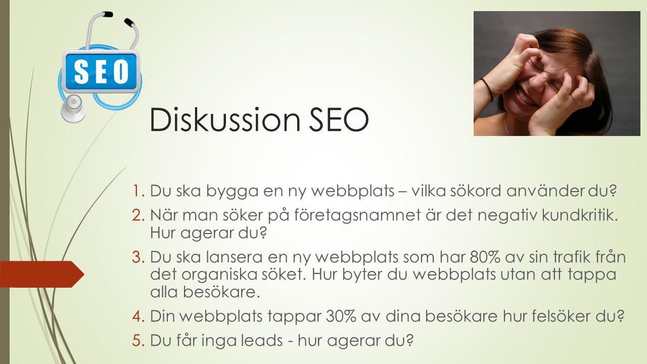 Diskussion SEO 1.Du ska bygga en ny webbplats – vilka sökord använder du.
