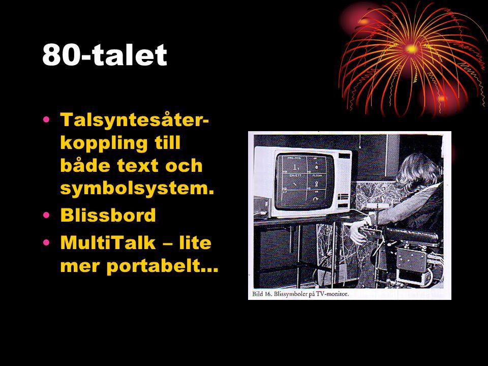 80-talet Talsyntesåter- koppling till både text och symbolsystem.