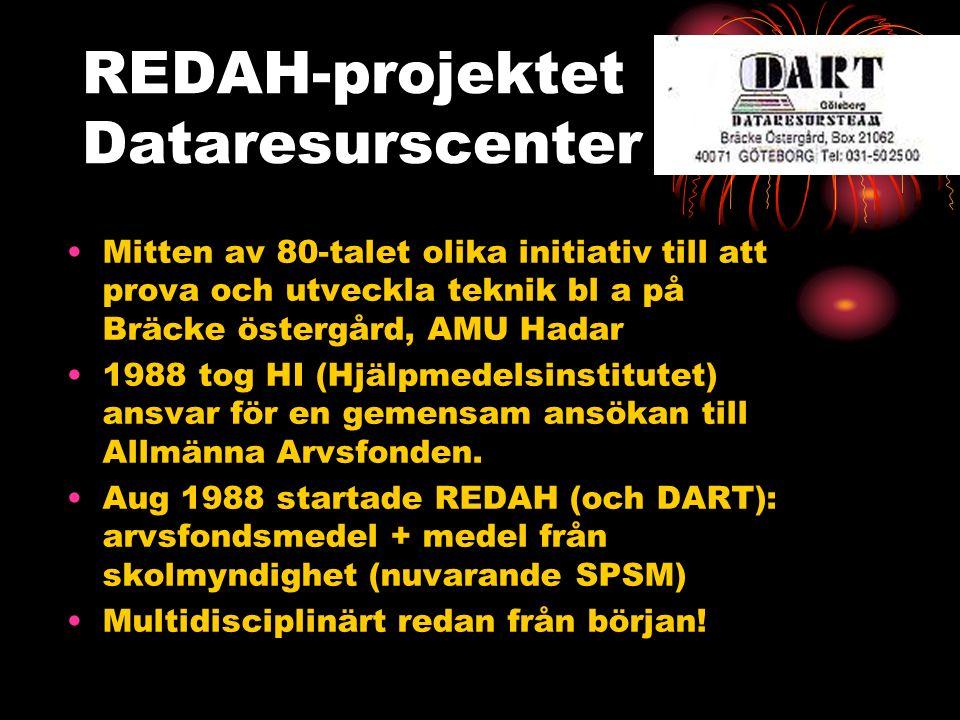 REDAH-projektet Dataresurscenter Mitten av 80-talet olika initiativ till att prova och utveckla teknik bl a på Bräcke östergård, AMU Hadar 1988 tog HI (Hjälpmedelsinstitutet) ansvar för en gemensam ansökan till Allmänna Arvsfonden.