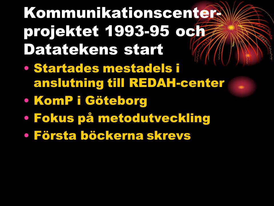 Kommunikationscenter- projektet 1993-95 och Datatekens start Startades mestadels i anslutning till REDAH-center KomP i Göteborg Fokus på metodutveckling Första böckerna skrevs
