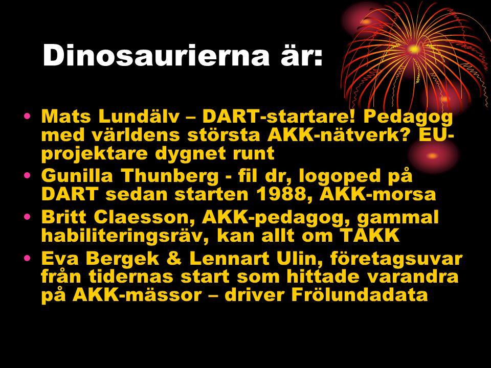 Dinosaurierna är: Mats Lundälv – DART-startare. Pedagog med världens största AKK-nätverk.