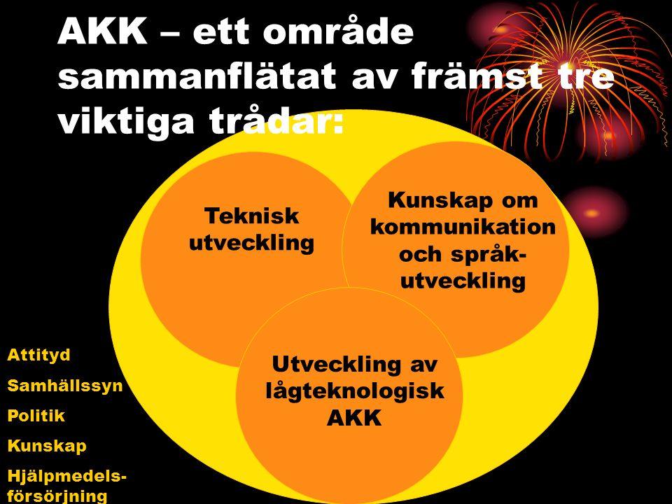AKK – ett område sammanflätat av främst tre viktiga trådar: Teknisk utveckling Kunskap om kommunikation och språk- utveckling Utveckling av lågteknologisk AKK Attityd Samhällssyn Politik Kunskap Hjälpmedels- försörjning