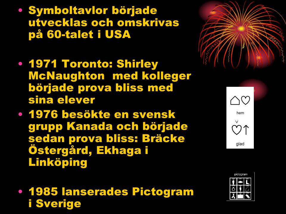 Symboltavlor började utvecklas och omskrivas på 60-talet i USA 1971 Toronto: Shirley McNaughton med kolleger började prova bliss med sina elever 1976 besökte en svensk grupp Kanada och började sedan prova bliss: Bräcke Östergård, Ekhaga i Linköping 1985 lanserades Pictogram i Sverige