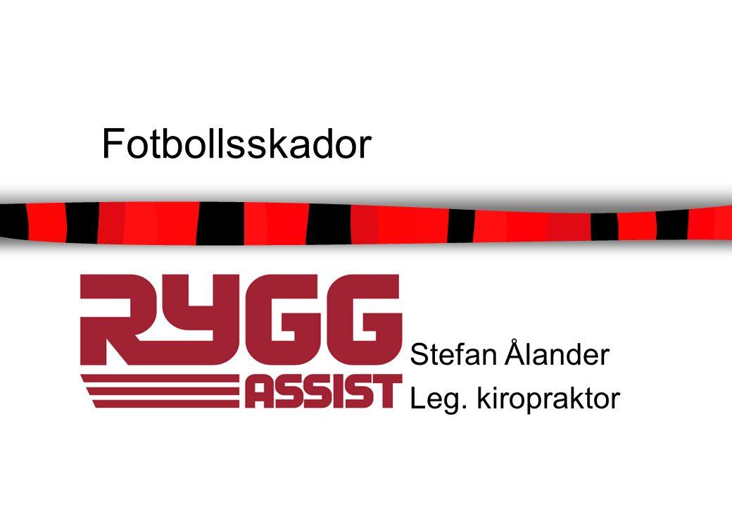 Fotbollsskador Akut omhändertagande Skadeförebyggande träning/åtgärder Vanliga skador inom fotboll Återgång till spel efter skada
