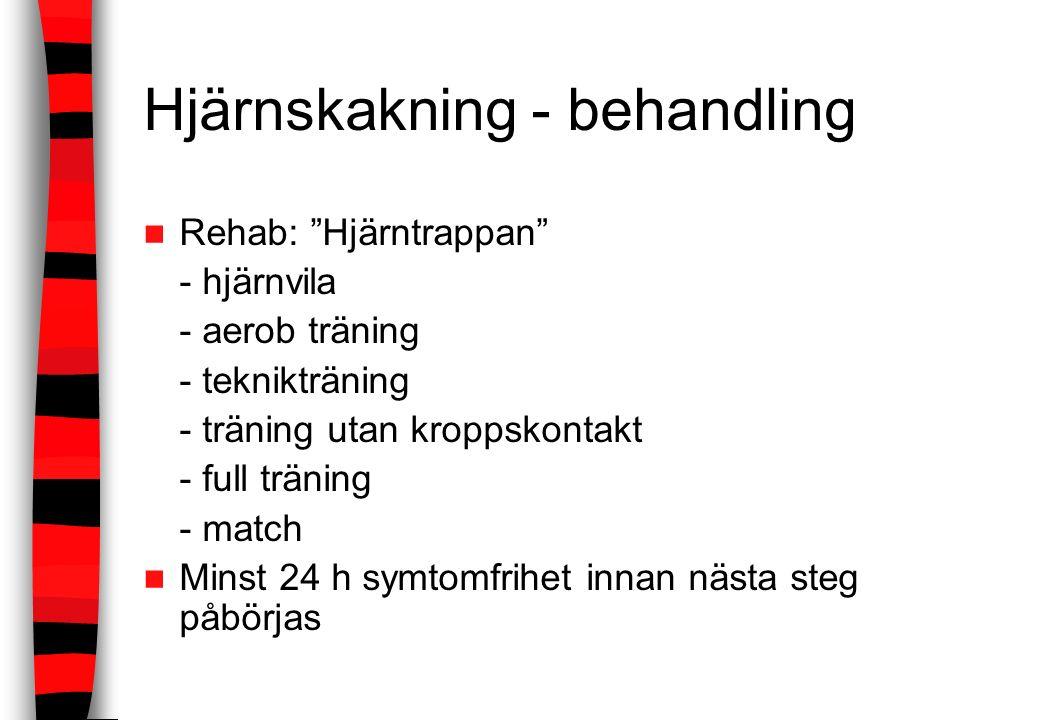 """Hjärnskakning - behandling Rehab: """"Hjärntrappan"""" - hjärnvila - aerob träning - teknikträning - träning utan kroppskontakt - full träning - match Minst"""