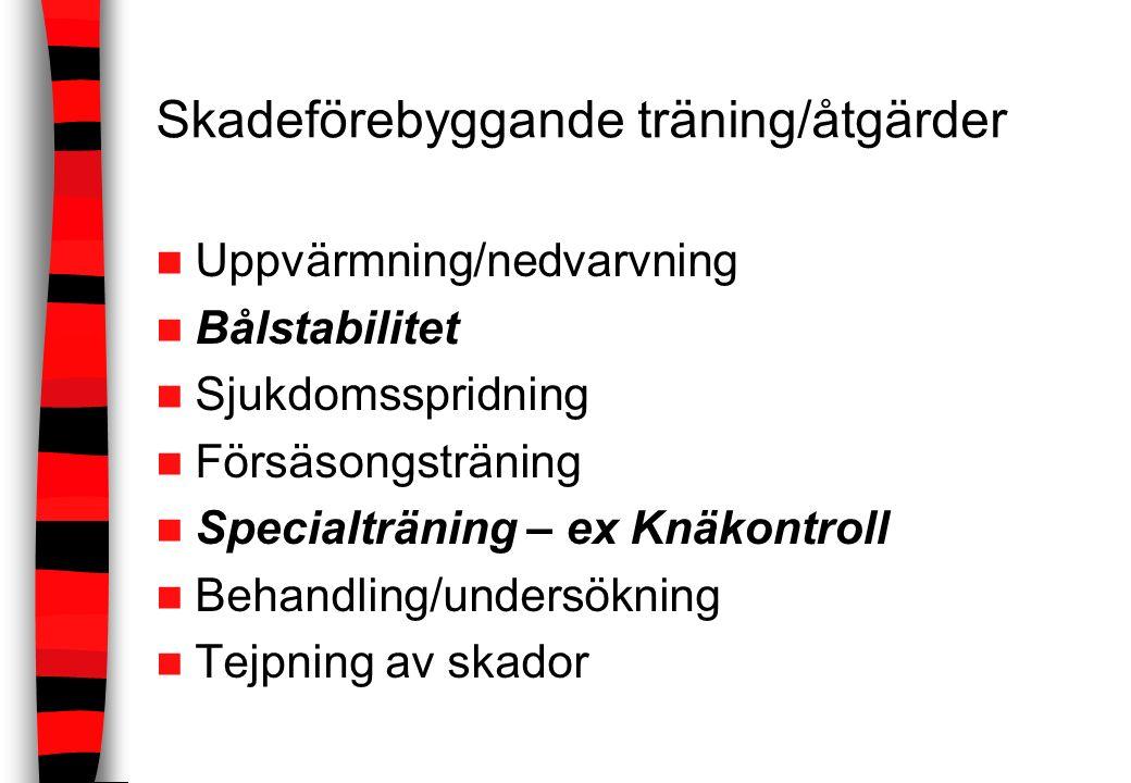 Skadeförebyggande träning/åtgärder Uppvärmning/nedvarvning Bålstabilitet Sjukdomsspridning Försäsongsträning Specialträning – ex Knäkontroll Behandlin