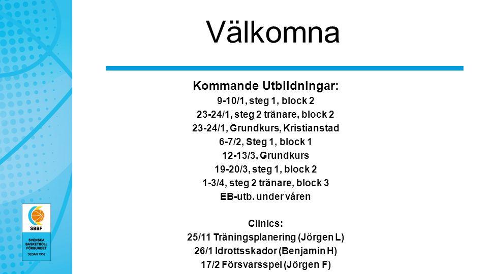 Välkomna Kommande Utbildningar: 9-10/1, steg 1, block 2 23-24/1, steg 2 tränare, block 2 23-24/1, Grundkurs, Kristianstad 6-7/2, Steg 1, block 1 12-13/3, Grundkurs 19-20/3, steg 1, block 2 1-3/4, steg 2 tränare, block 3 EB-utb.