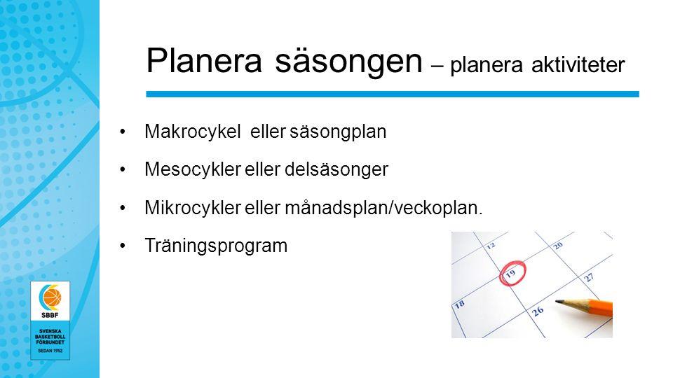 Planera säsongen – planera aktiviteter Makrocykel eller säsongplan Mesocykler eller delsäsonger Mikrocykler eller månadsplan/veckoplan.