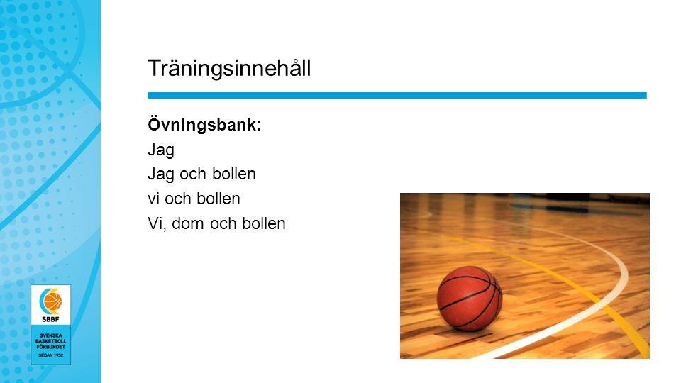 Träningsinnehåll Övningsbank: Jag Jag och bollen vi och bollen Vi, dom och bollen