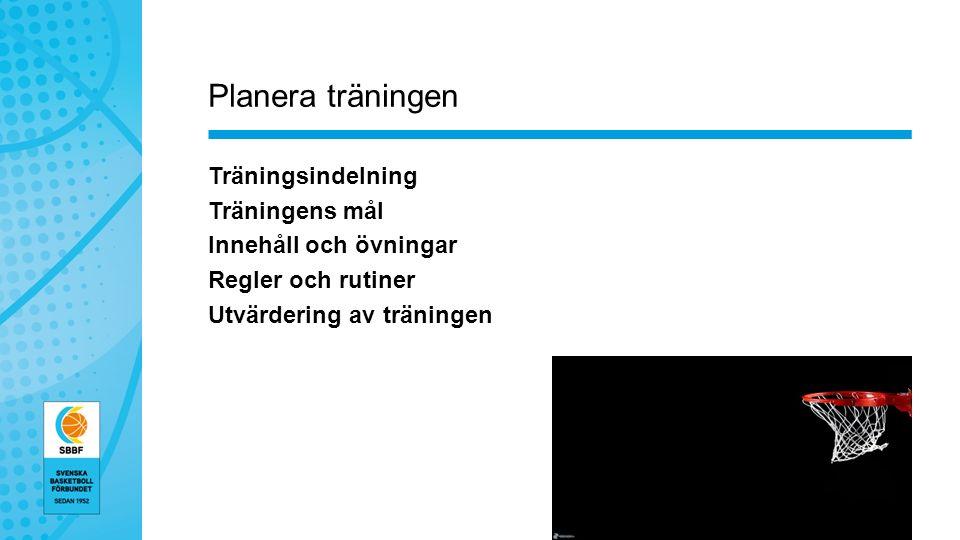 Planera träningen Träningsindelning Träningens mål Innehåll och övningar Regler och rutiner Utvärdering av träningen