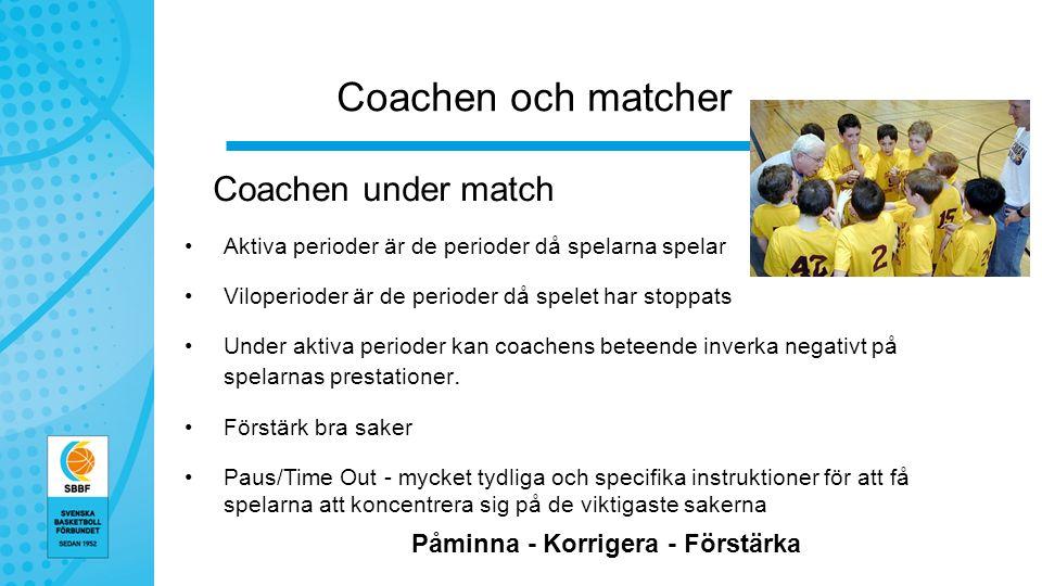 Coachen och matcher Coachen under match Aktiva perioder är de perioder då spelarna spelar Viloperioder är de perioder då spelet har stoppats Under aktiva perioder kan coachens beteende inverka negativt på spelarnas prestationer.